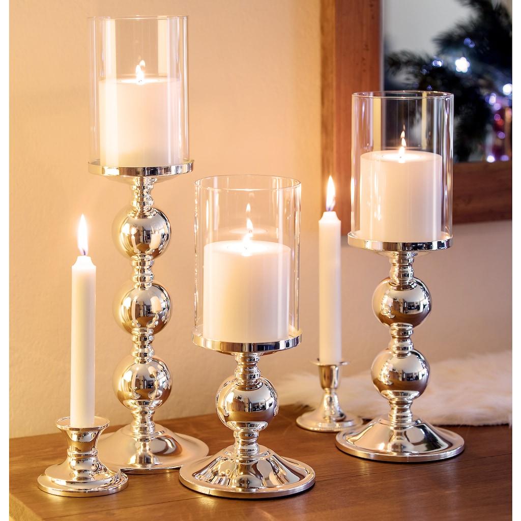 EDZARD Kerzenständer »Bamboo«, Kerzenleuchter für Stumpenkerzen, Kerzenhalter mit Glas-Aufsatz und Silber-Optik, versilbert und anlaufgeschützt, Höhe 34 cm