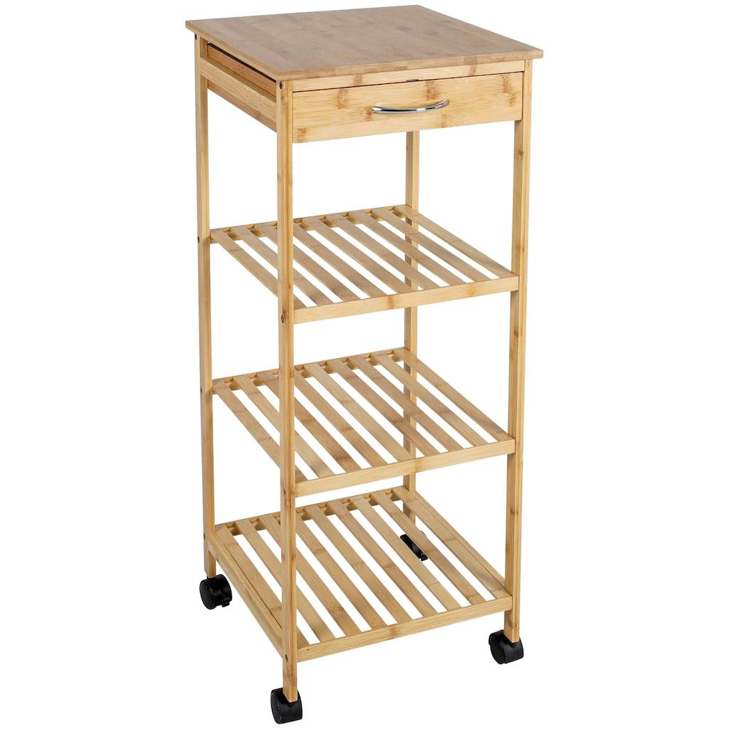 axentia Standregal »Küchenschrank, Bambus, mit Rollen«