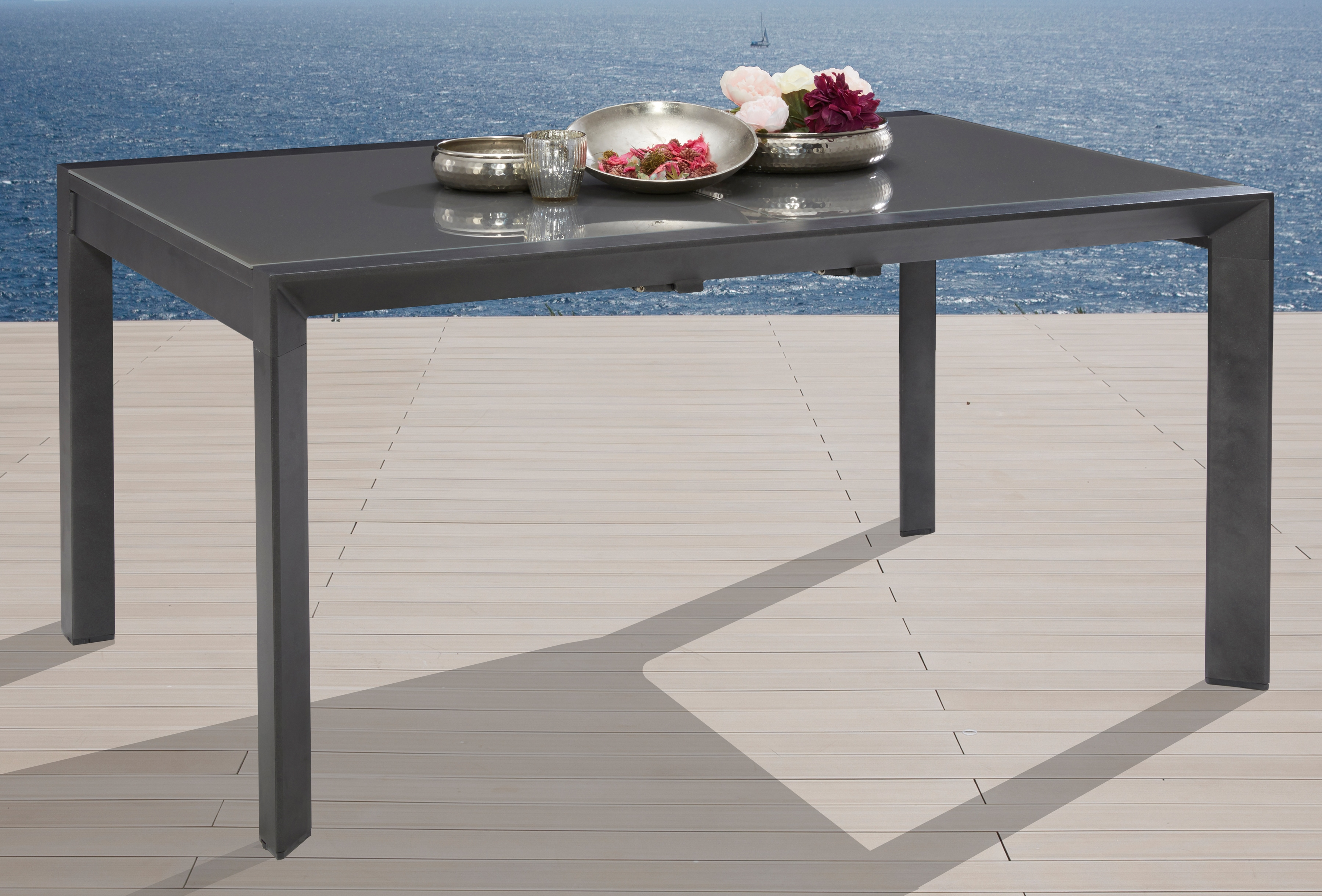 MERXX Gartentisch San Remo Aluminium ausziehbar 160-220x104 cm silber
