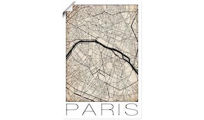 Artland Wandbild »Retro Karte Paris Frankeich Grunge« kaufen
