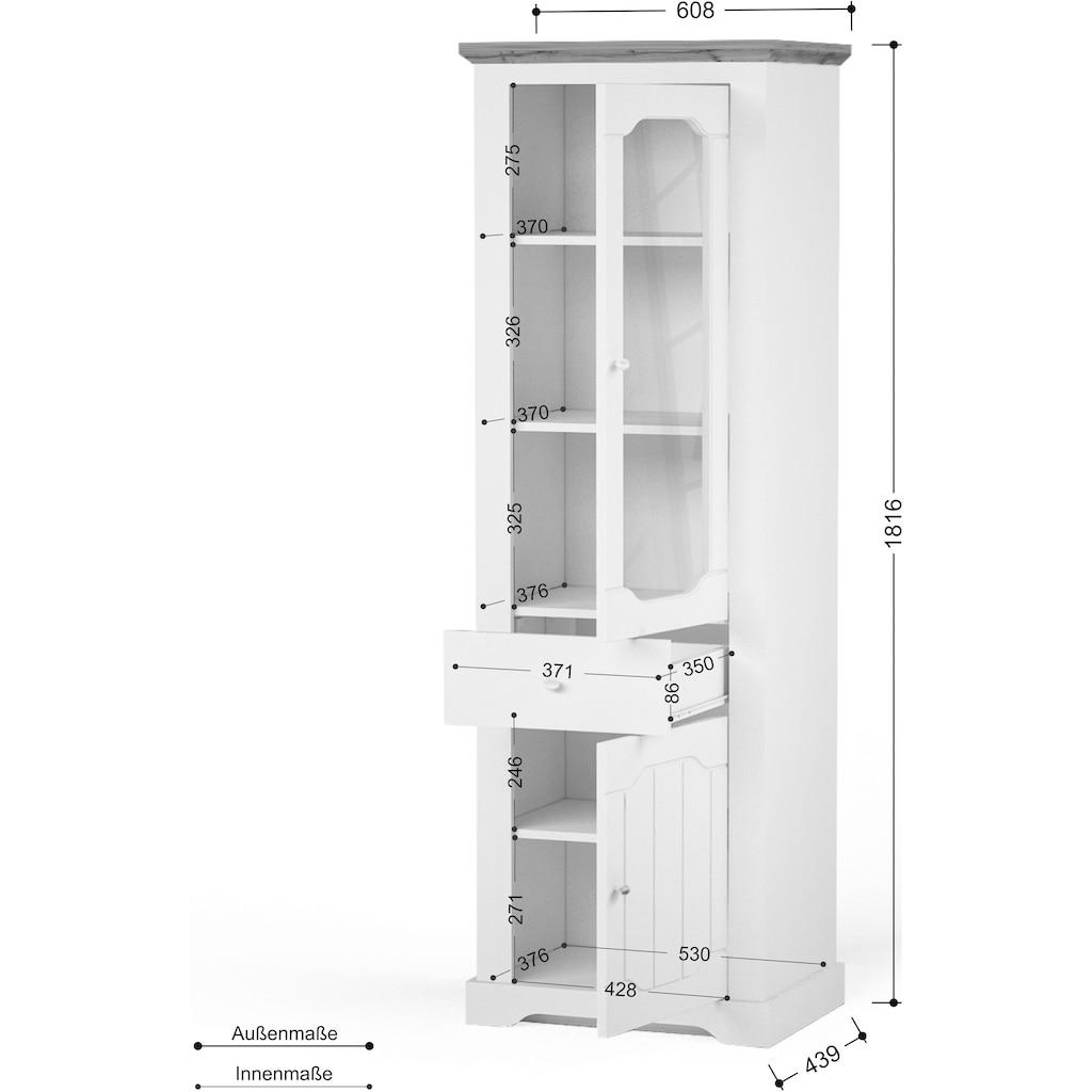"""Home affaire Vitrine »Teverton«, Vitrine """"Teverton"""" 2 Türen, 1 Schublade, Höhe 181,5 cm"""