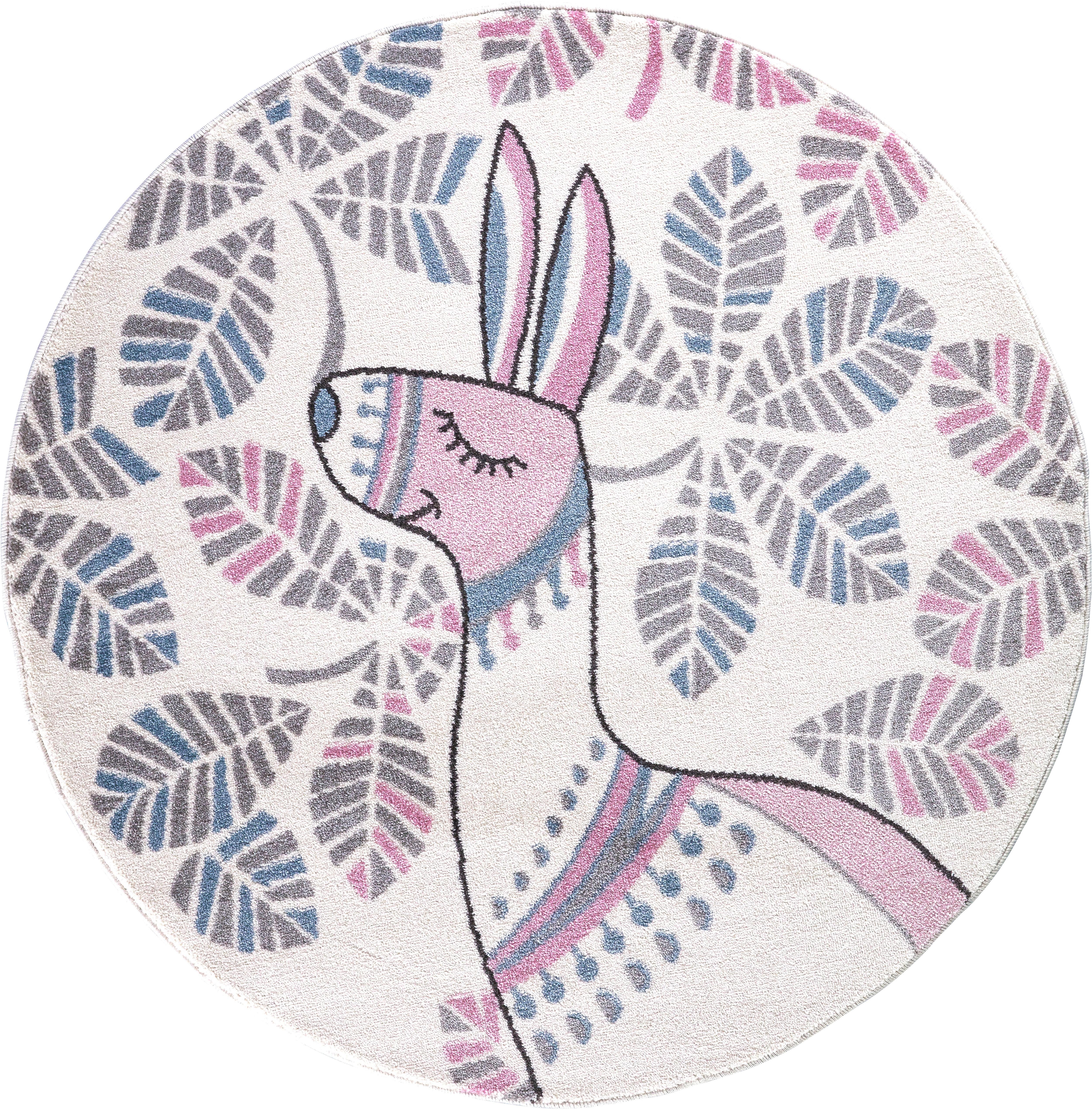 Festival Kinderteppich Candy 150, rund, 11 mm Höhe, Motiv Lama rosa Kinder Kinderteppiche mit Teppiche