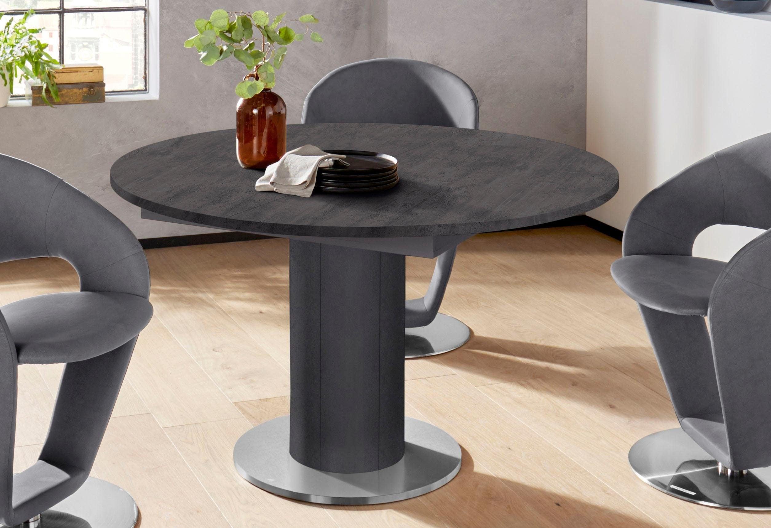 Mäusbacher Esstisch, rund, Untergestell Säule grau Esstisch Ausziehbare Esstische Tische