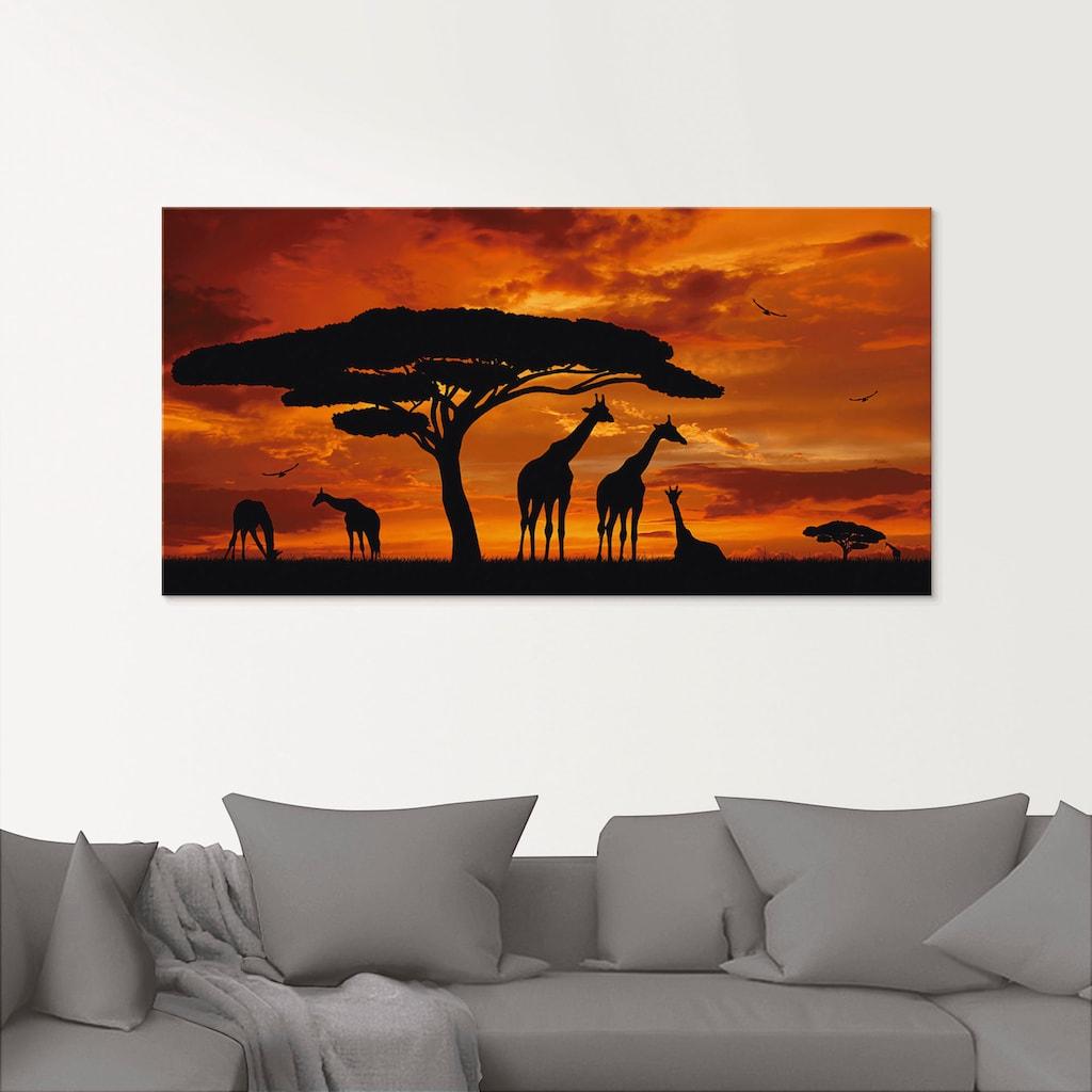 Artland Glasbild »Herde von Giraffen im Sonnenuntergang«, Wildtiere, (1 St.)