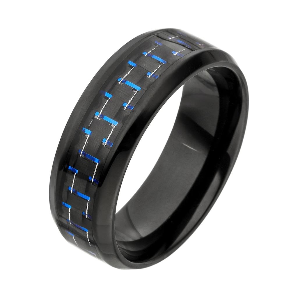 JOBO Fingerring, Edelstahl schwarz beschichtet mit Carbon-Einlage