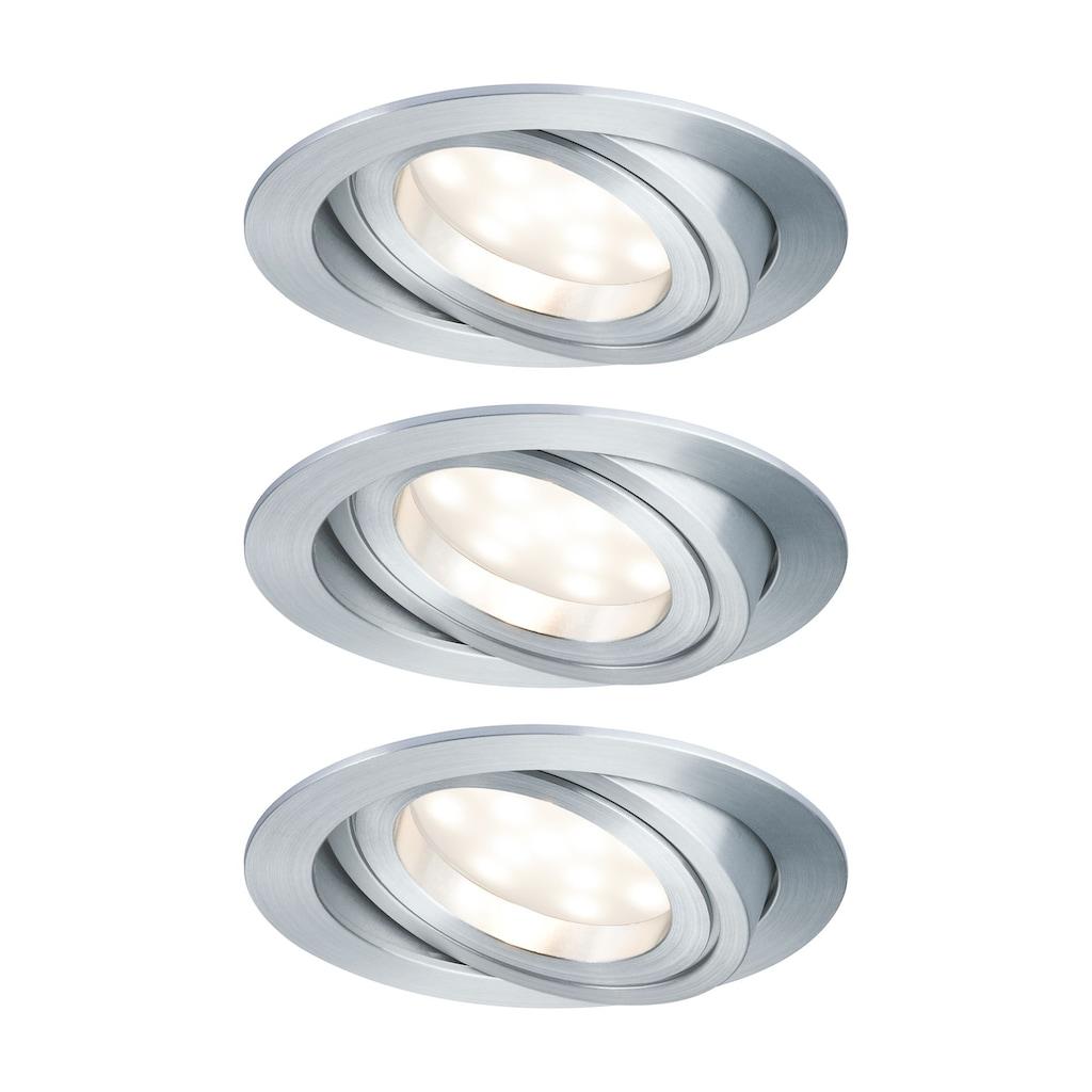 Paulmann LED Einbaustrahler »Coin satiniert rund 7W Alu 3er-Set dimmbar und schwenkbar«, 3 St., Warmweiß