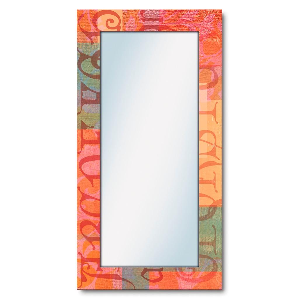 Artland Wandspiegel »Typograf«, gerahmter Ganzkörperspiegel mit Motivrahmen, geeignet für kleinen, schmalen Flur, Flurspiegel, Mirror Spiegel gerahmt zum Aufhängen