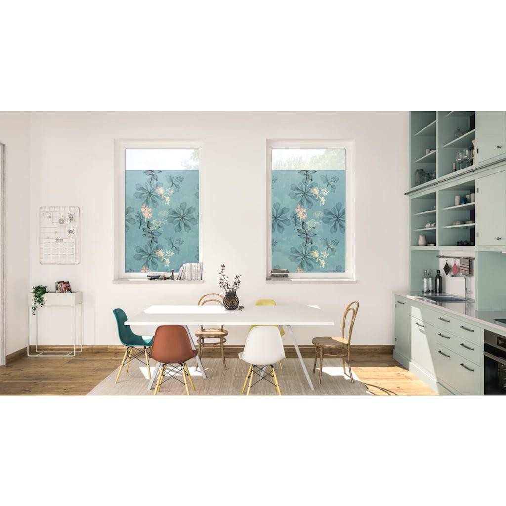 LICHTBLICK ORIGINAL Fensterfolie »Fensterfolie selbstklebend, Sichtschutz, Aqua Floral - Blau«, 1 St., blickdicht, glattstatisch haftend