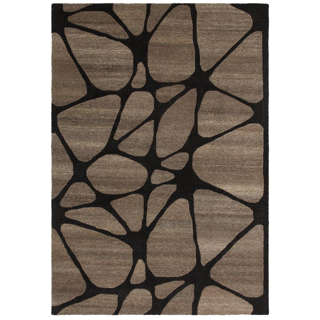 Theko Exklusiv Wollteppich »Almina«, rechteckig, 14 mm Höhe, reine Wolle, Handgearbeiteter Konturenschnitt, Wohnzimmer