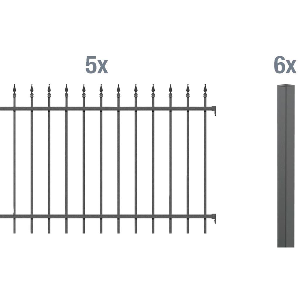 GAH Alberts Metallzaun »Chaussee«, 120 cm hoch, 5 Matten für 10 m, 6 Pfosten zum Einbetonieren