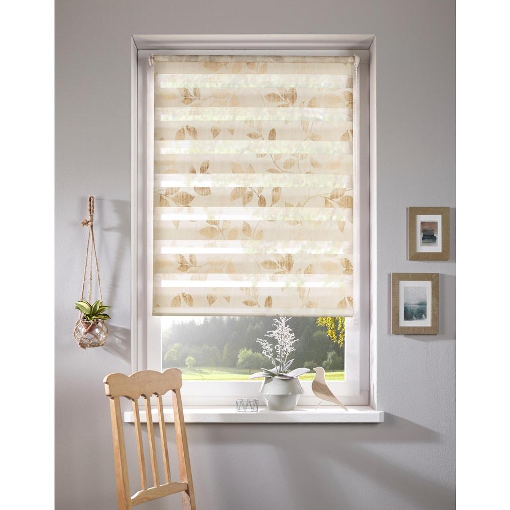 Home affaire Doppelrollo »Blätter«, Lichtschutz, ohne Bohren, freihängend, im Fixmaß
