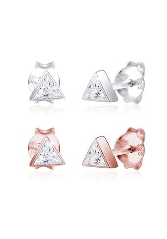 Elli Paar Ohrstecker »Set Dreieck Geo Bi-Color Zirkonia Trend 925 Silber« kaufen