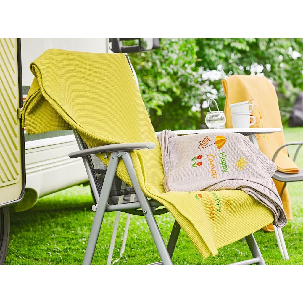 Kneer Wohndecke »Happy Camper«, aus Waffelpiqué mit Stickerei, auch als Tagesdecke einsetzbar