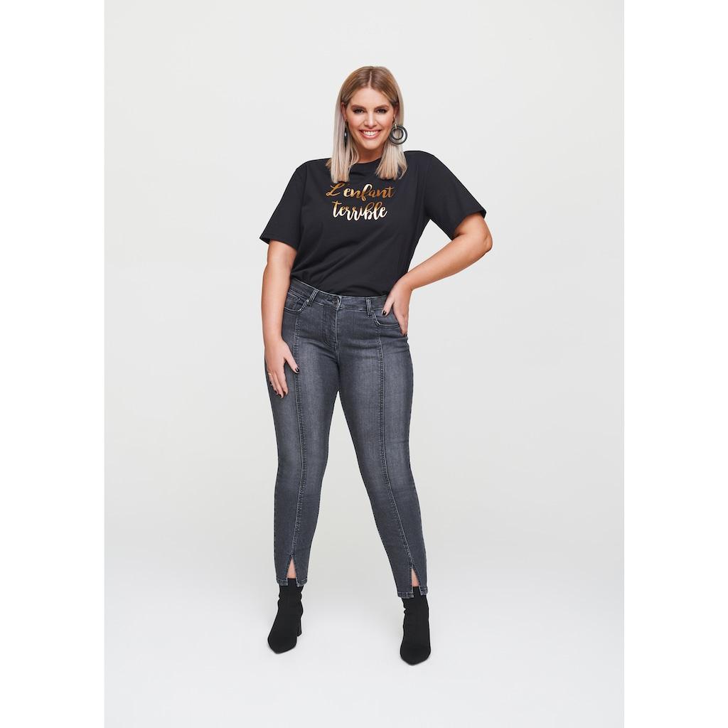 Rock Your Curves by Angelina K. Slim-fit-Jeans, mit Teilungsnaht und Schlitz