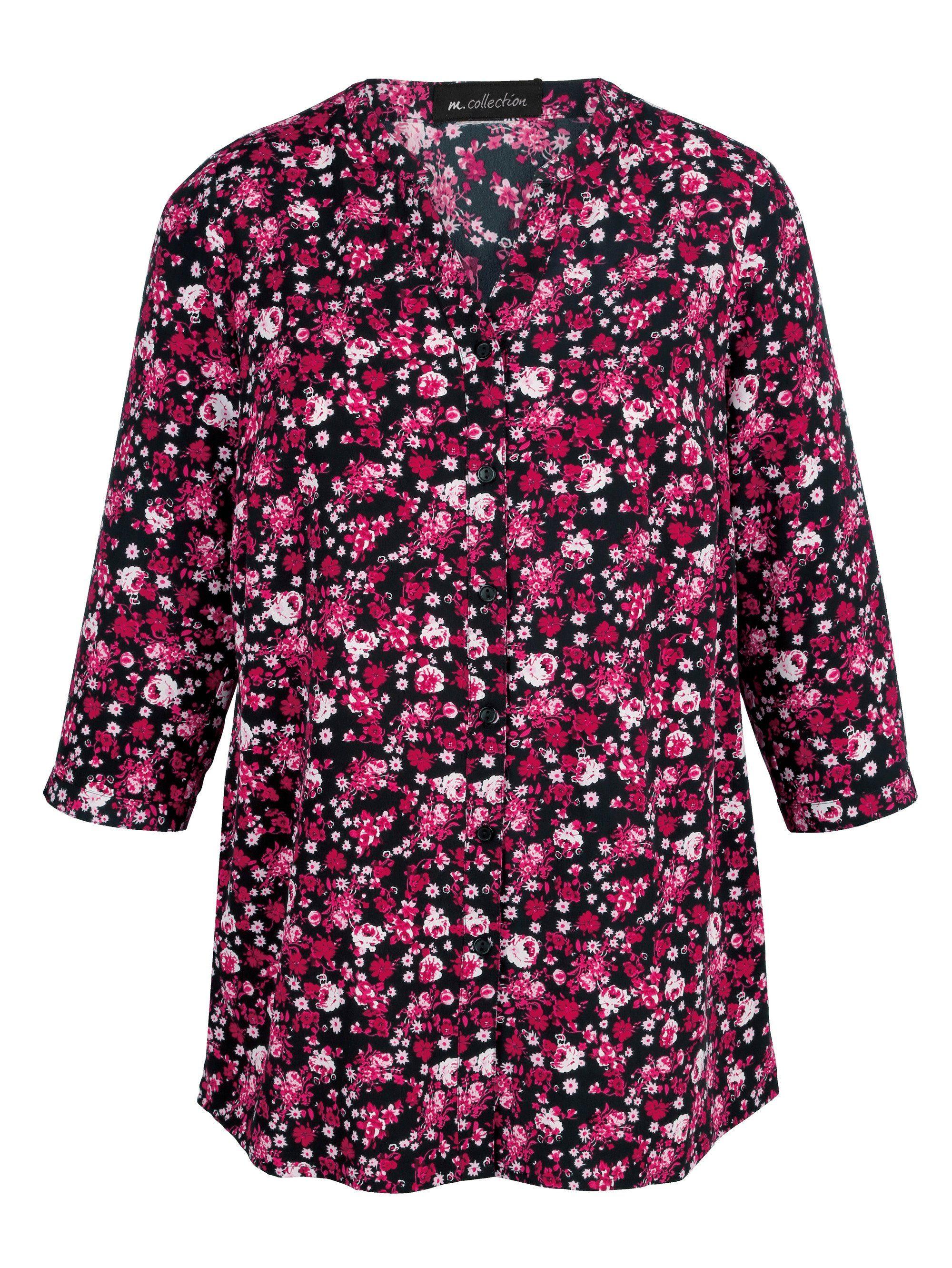 m collection Bluse mit attraktivem Blumendruckmuster rundum