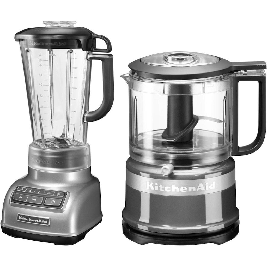 KitchenAid Standmixer »5KSB1585ECU und Mini Zerkleinerer 5KFC3516«, 550 W, Vorteilsset: Du sparst gegenüber Einzelkauf 62,90€