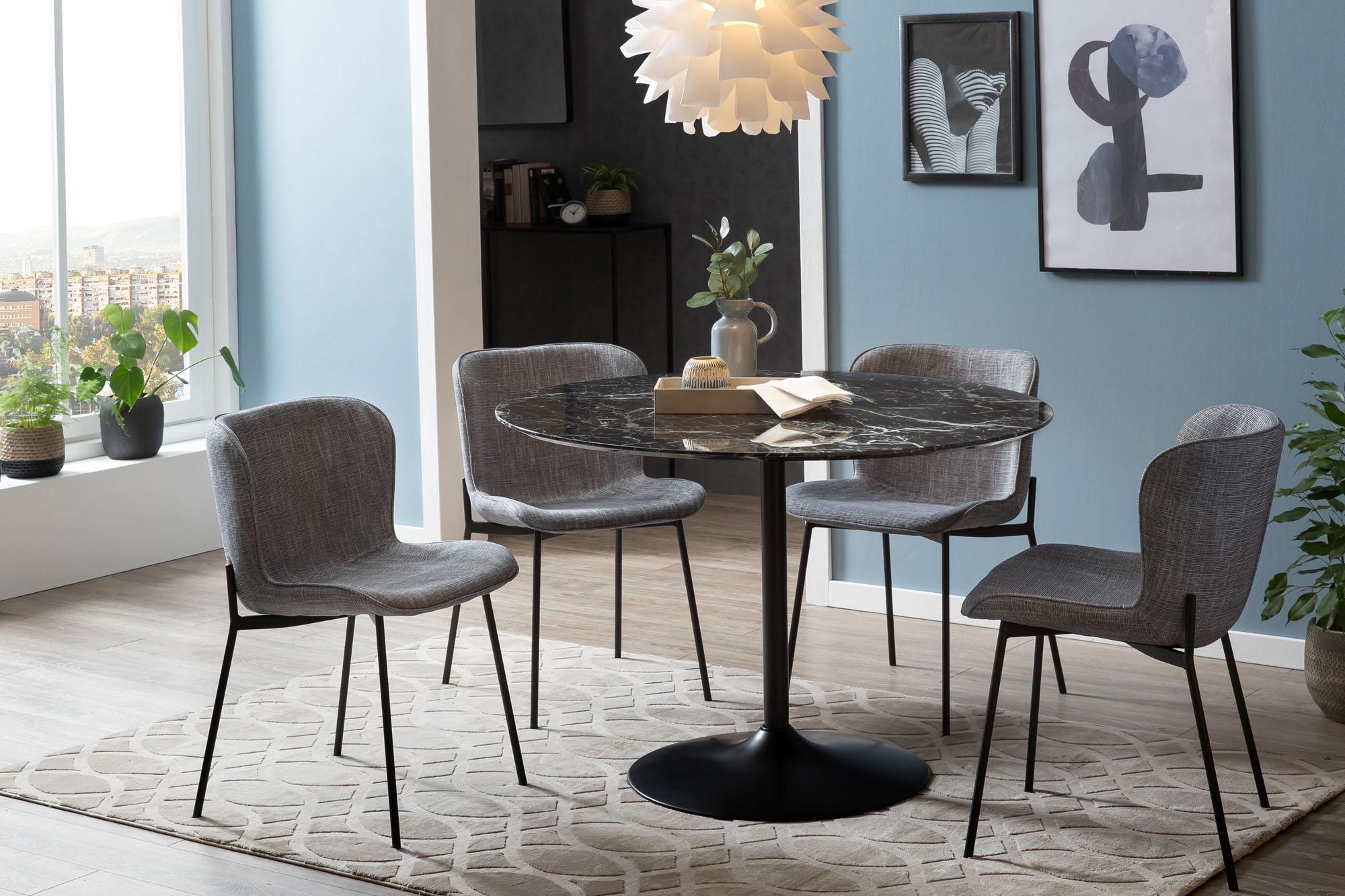 SalesFever Esstisch, Tischplatte in Marmoroptik schwarz Esstisch Esstische rund oval Tische