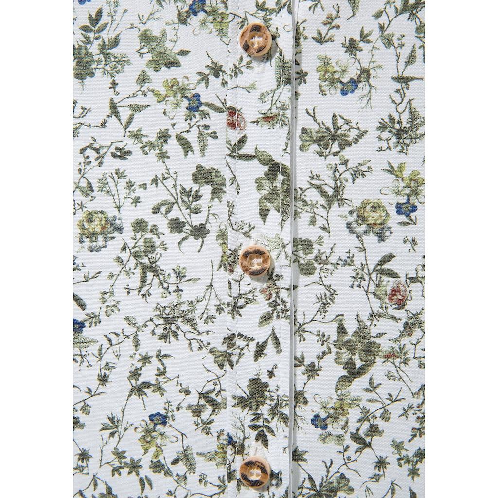 OS-Trachten Trachtenbluse, mit floralem Muster und Knöpfe in Hirschhornoptik