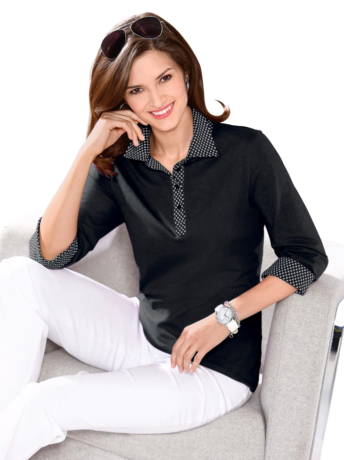 Classic Basics Poloshirt mit Sternchen-Muster bedruckt | Bekleidung > Shirts > Poloshirts | Classic Basics