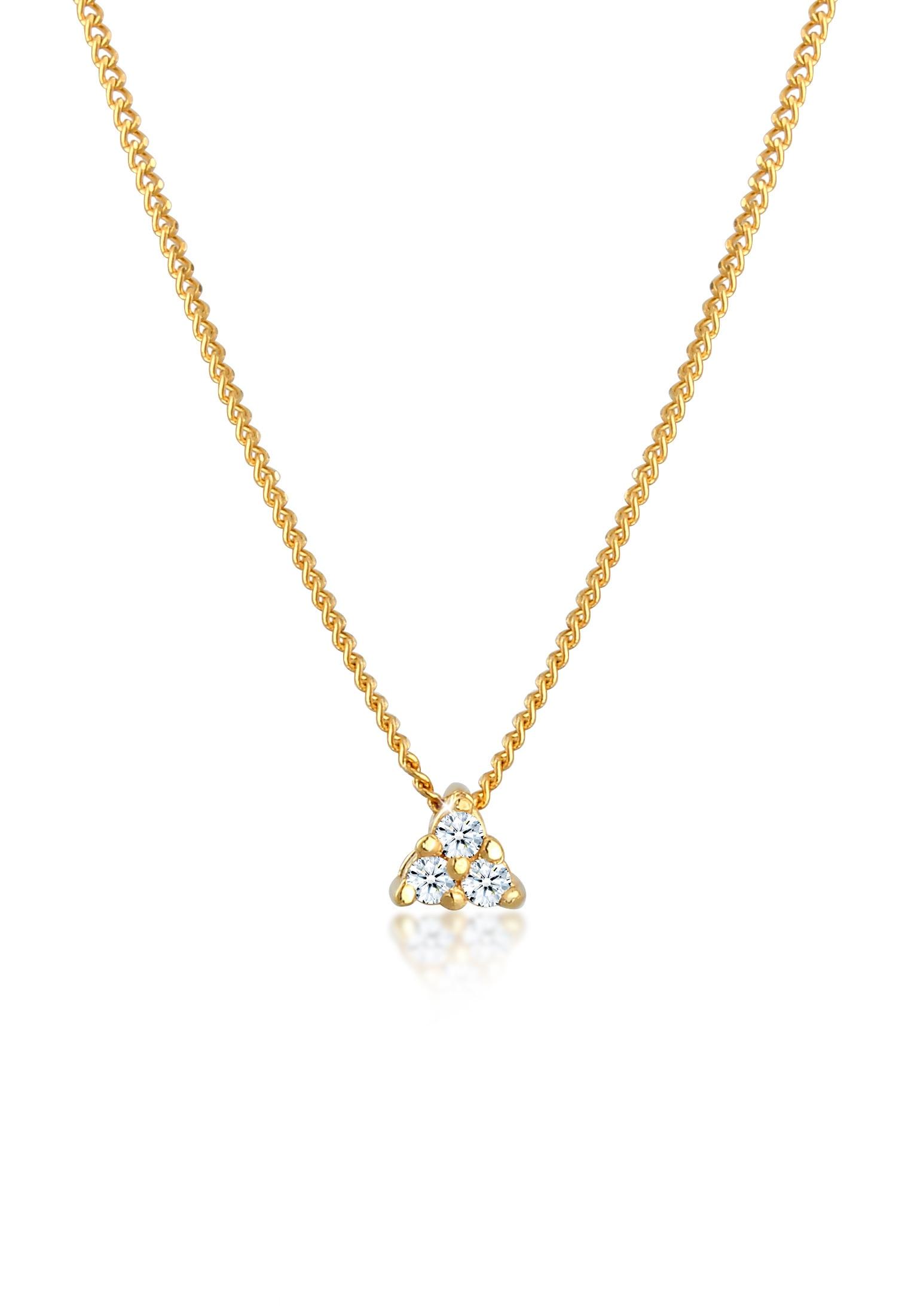Diamore Collierkettchen Panzerkette Dreieck Diamant (006 ct) 585 Gelbgold | Schmuck > Halsketten > Panzerketten | Diamore