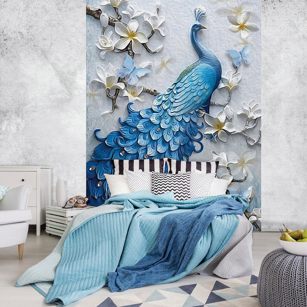 Consalnet Vliestapete »Blauer Pfau«, Motiv