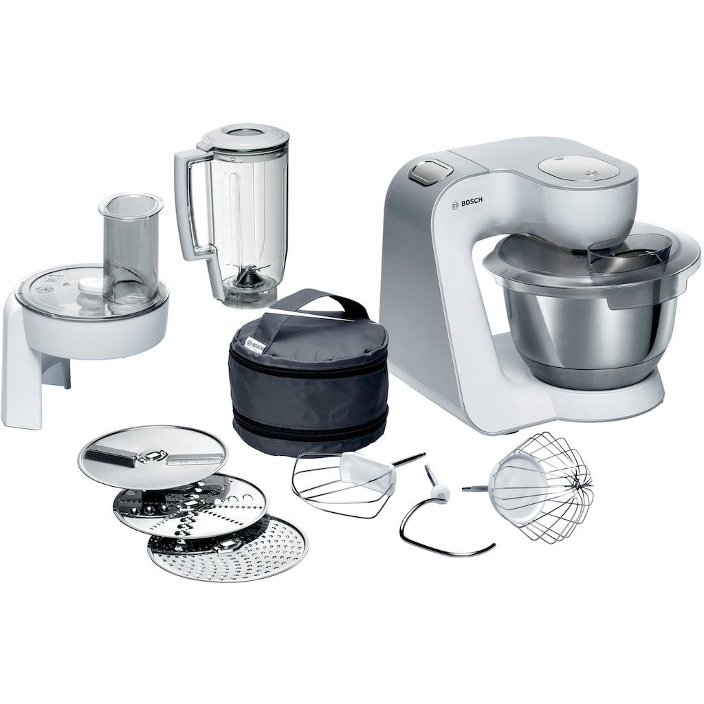 BOSCH Küchenmaschine »CreationLine MUM58W20«, 1000 W, 3,9 l Schüssel, vielseitig einsetzbar, Mixer, Durchlaufschnitzler, 3 Reibescheiben, weiß/silber