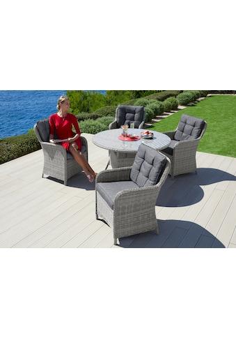 KONIFERA Gartenmöbelset »Menorca«, (13 tlg.), 4 Stühle, Tisch Ø 120 cm, Polyrattan kaufen