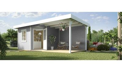 WEKA Set: Gartenhaus »Designhaus 213B Gr.1«, BxT: 586x278cm, mit Anbaudach + Rückwand und Boden im Haus kaufen