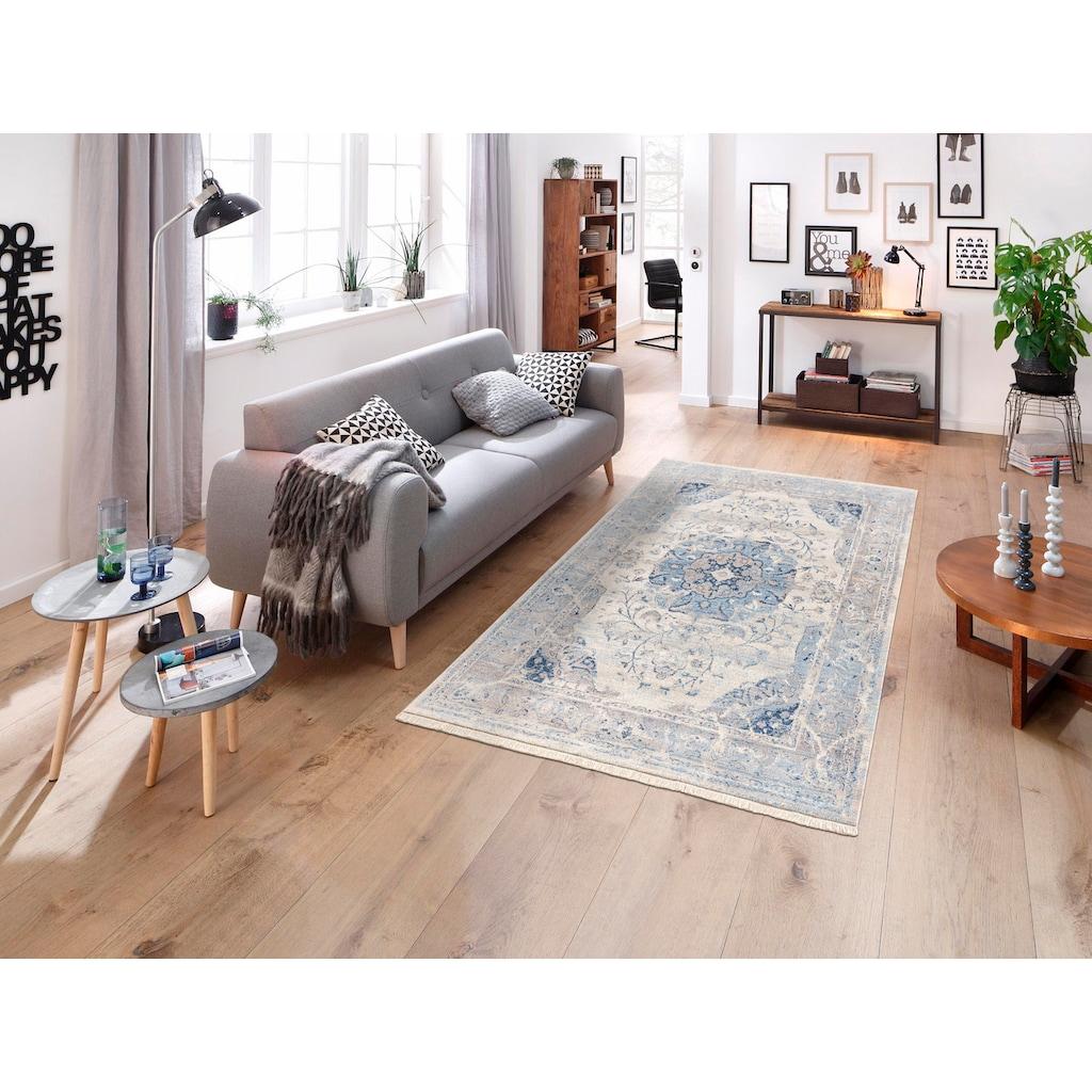 DELAVITA Teppich »Simon«, rechteckig, 6 mm Höhe, Größe 1+2 wird ohne Fransen geliefert., Wohnzimmer