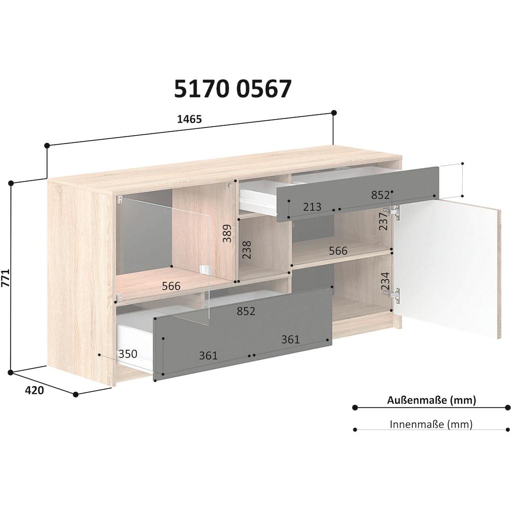 INOSIGN Kommode »Brick«, mit Hintergrundbeleuchtung und Push-to-open-Funktion, Breite 147 cm