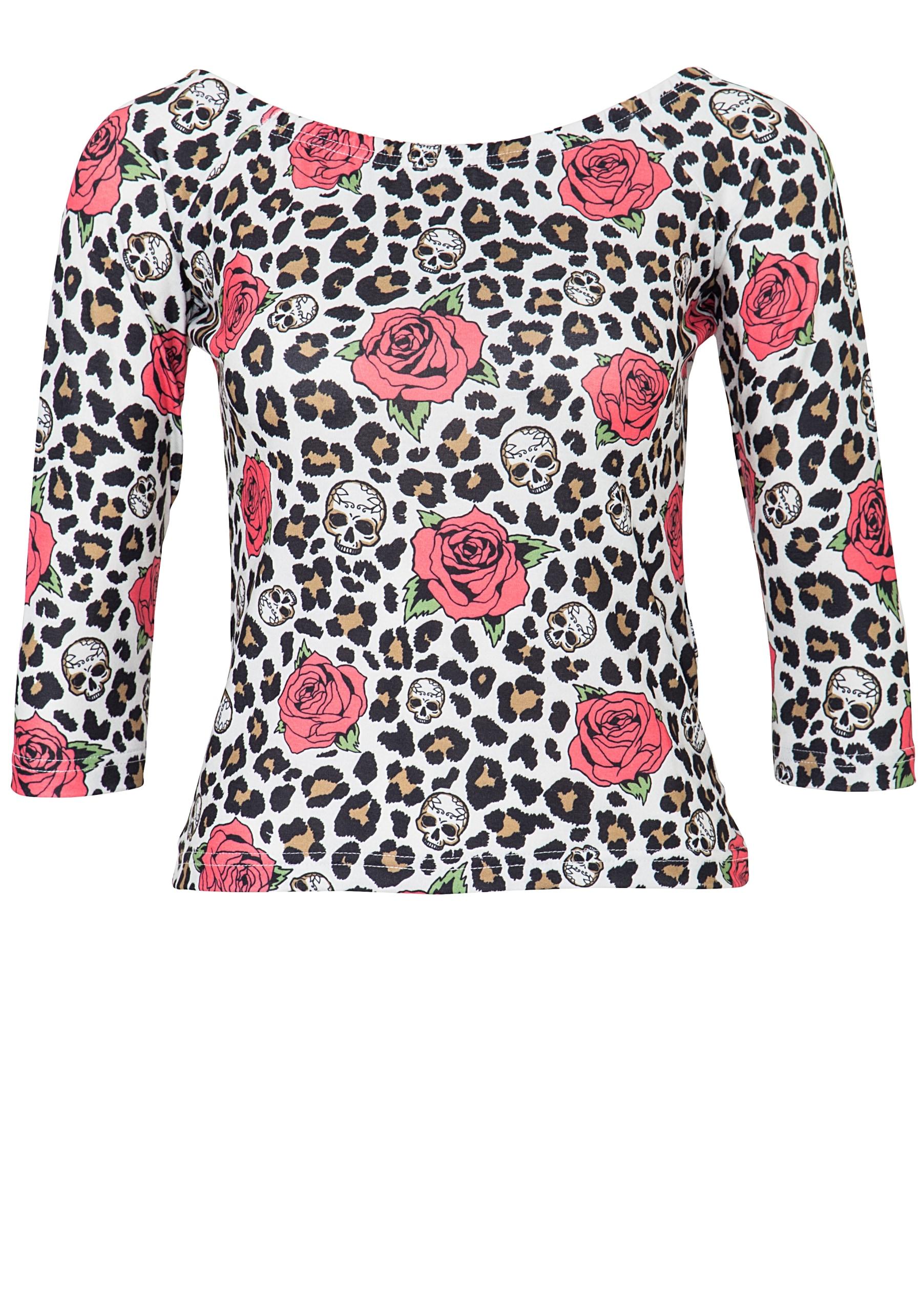 QueenKerosin Carmenshirt Leo & Roses | Bekleidung > Shirts > Carmenshirts & Wasserfallshirts | Weiß | Queenkerosin