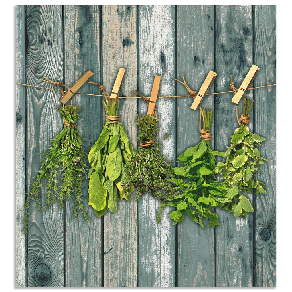 Artland Küchenrückwand »Kräuter mit Holzoptik«