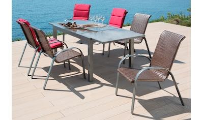 MERXX Gartenmöbelset »Côte d´Azur«, 7 - tlg., 6 Sessel, Tisch 200x90x75 cm, grau kaufen