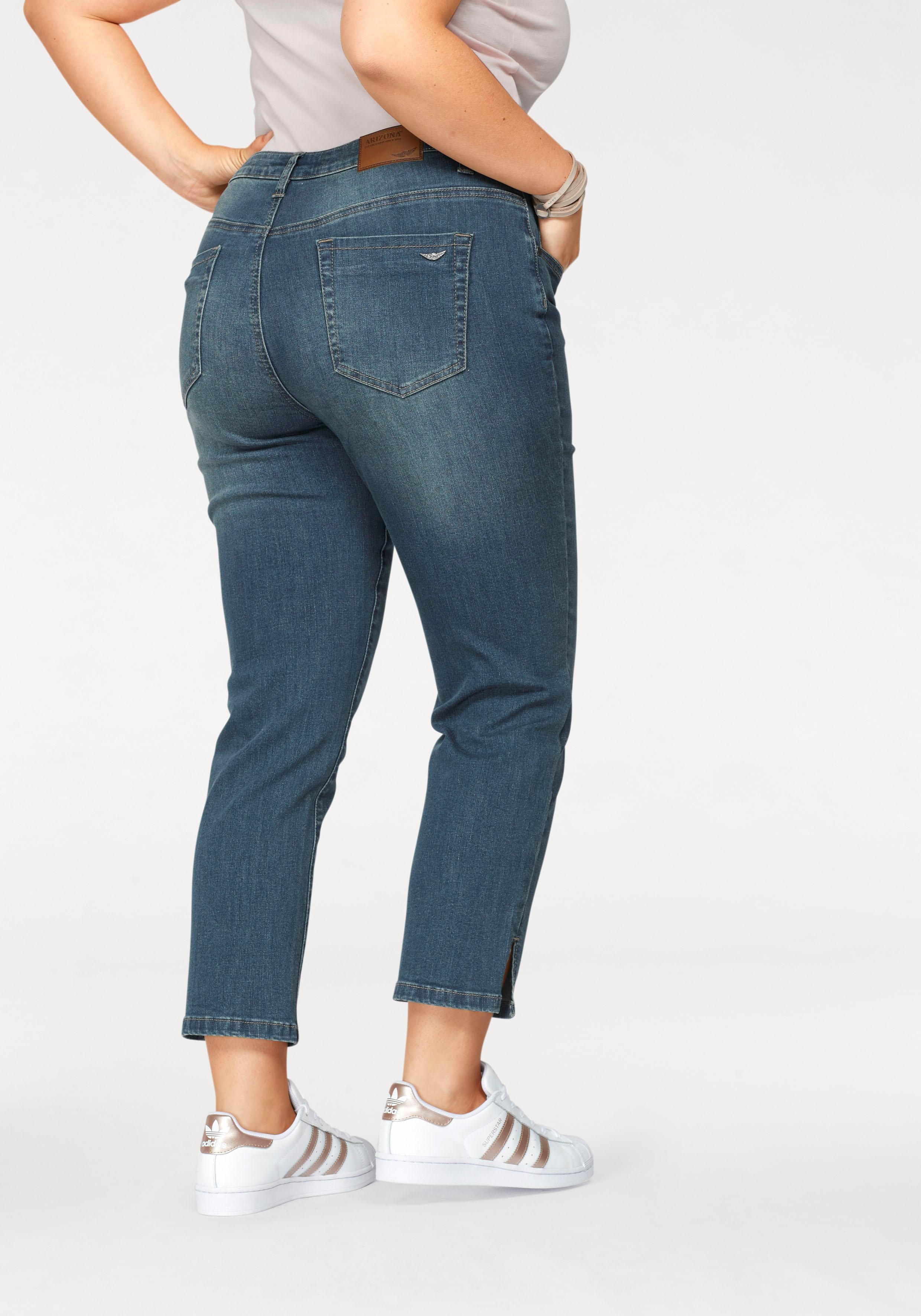 Arizona 7/8-Jeans seitliche Schlitze am Saum | Bekleidung > Jeans > 7/8-Jeans | Blau | Arizona