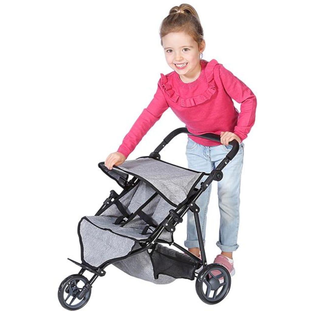 Knorrtoys® Puppenwagen »Duo - Jeans Grey«, für Zwillinge