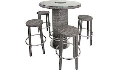GARDEN PLEASURE Bar - Set »EVORA«, 5 - tlg., 4 Barhocker, Tisch, Polyrattan kaufen