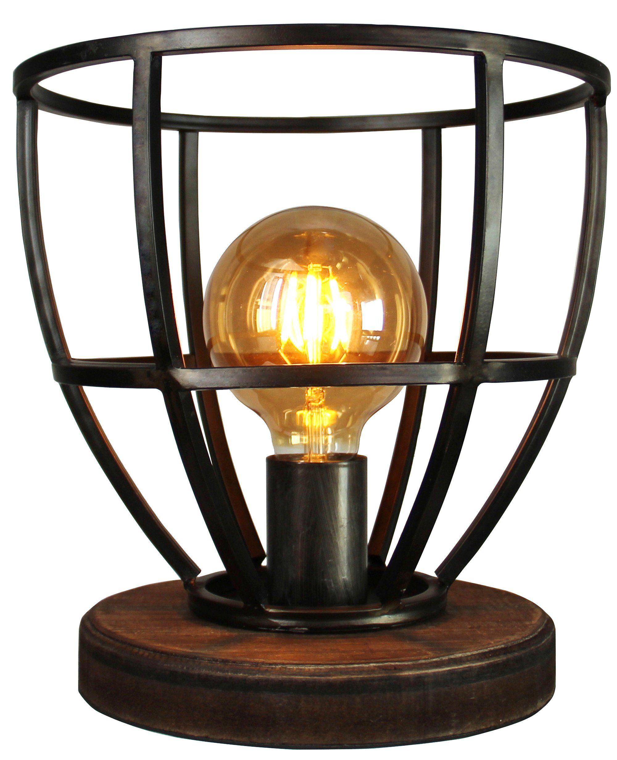 Brilliant Leuchten Matrix Wood Tischleuchte 25cm schwarz antik