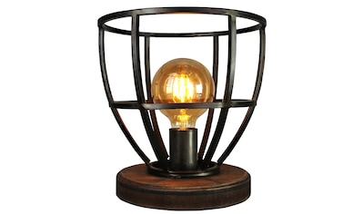Brilliant Leuchten Matrix Wood Tischleuchte 25cm schwarz antik kaufen