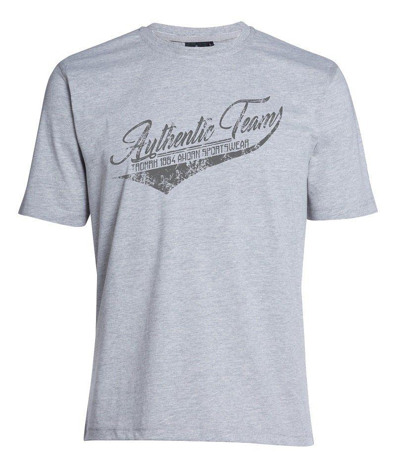 AHORN SPORTSWEAR T-Shirt mit sportivem Front-Print | Sportbekleidung > Sportshirts > T-Shirts | Grau | Samt - Baumwolle - Polyester | Ahorn Sportswear