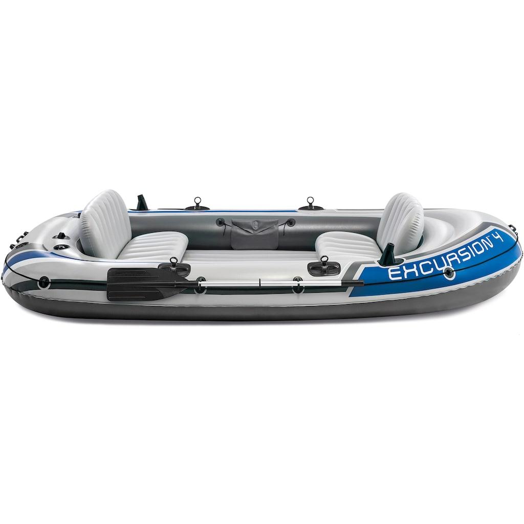 Intex Schlauchboot »Excursion 4«, (Set, mit 2 Paddeln und Luftpumpe)