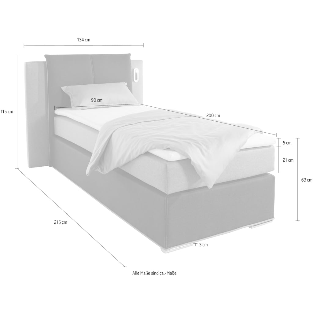 COLLECTION AB Boxspringbett »Freya«, inklusive LED-Beleuchtung und Topper