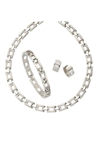 Zeeme Set 4Tlg. »Edelstahl Set Collier 50cm, Armband 21cm, Creolen« kaufen
