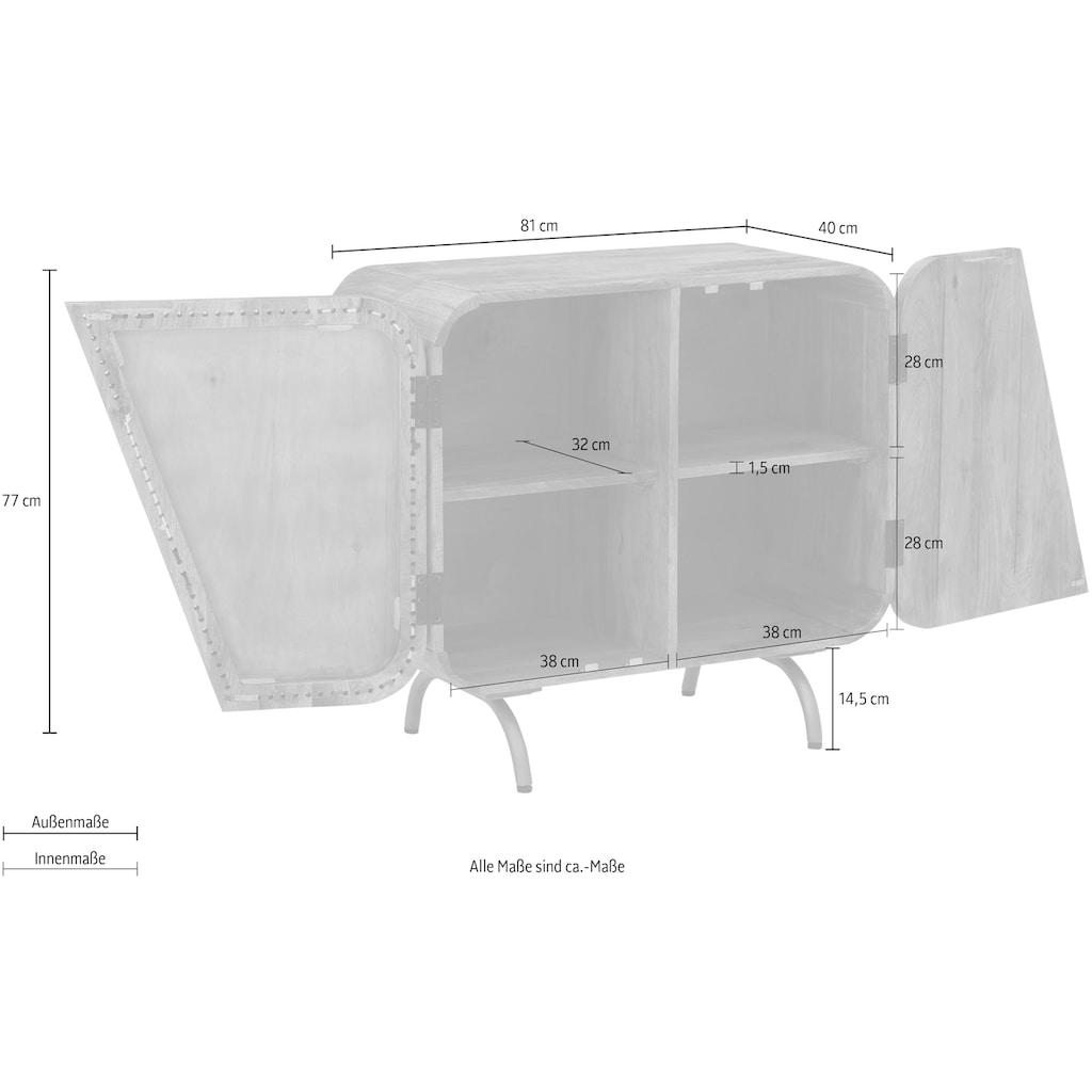 Home affaire Sideboard »Banquo«, mit besonderen Türfront Verzierungen, handgefertigt, aus massivem Mangoholz, Breite 81 cm