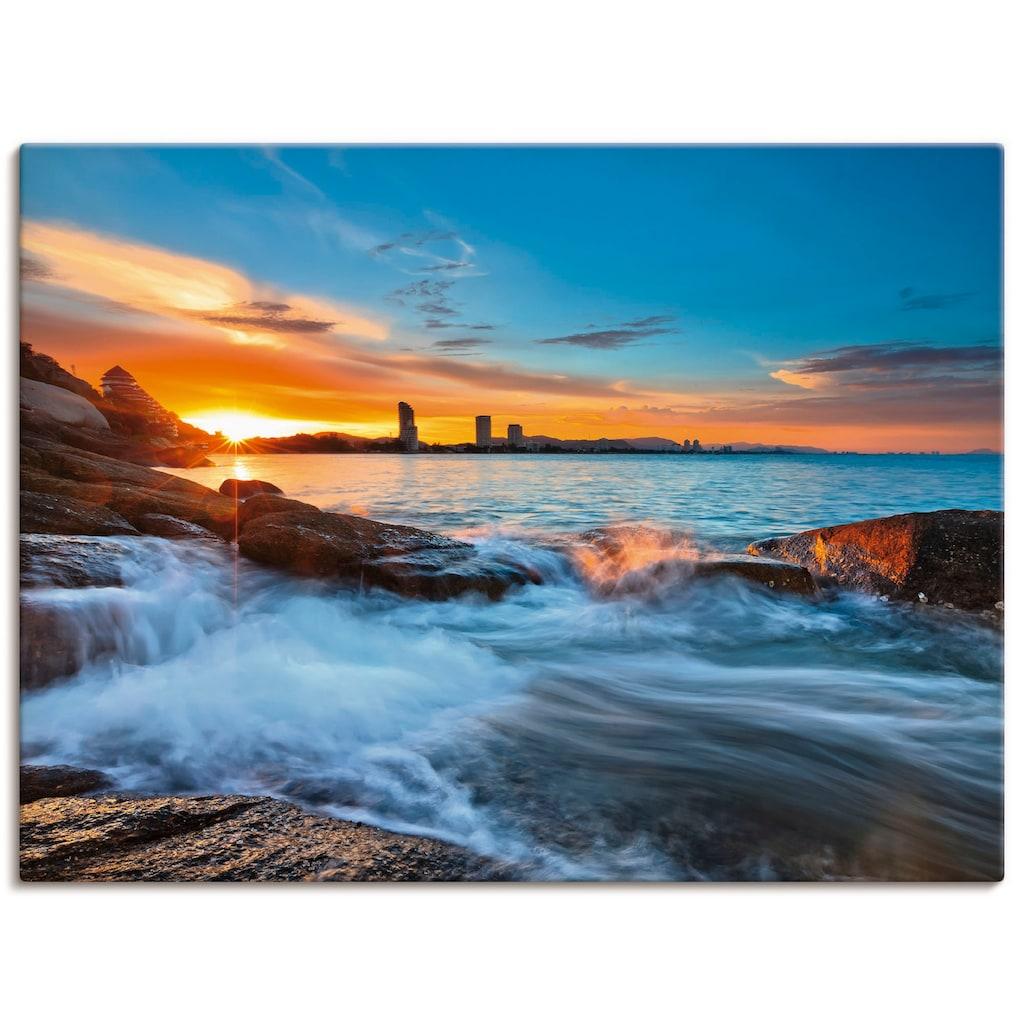 Artland Wandbild »Sonnenuntergangszeit am Hua-Hin Strand«, Gewässer, (1 St.), in vielen Größen & Produktarten - Alubild / Outdoorbild für den Außenbereich, Leinwandbild, Poster, Wandaufkleber / Wandtattoo auch für Badezimmer geeignet