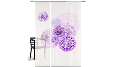 Schiebegardine, »Batikblume«, emotion textiles, Klettband 3 Stück kaufen