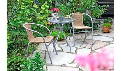 MERXX Gartenmöbelset »Alassio«, 3 - tlg., 2 Sessel, TischØ60 cm, Polyrattan, braun kaufen