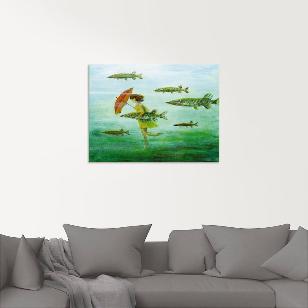Artland Glasbild »Es zieht wie Hechtsuppe«, Wassertiere, (1 St.)