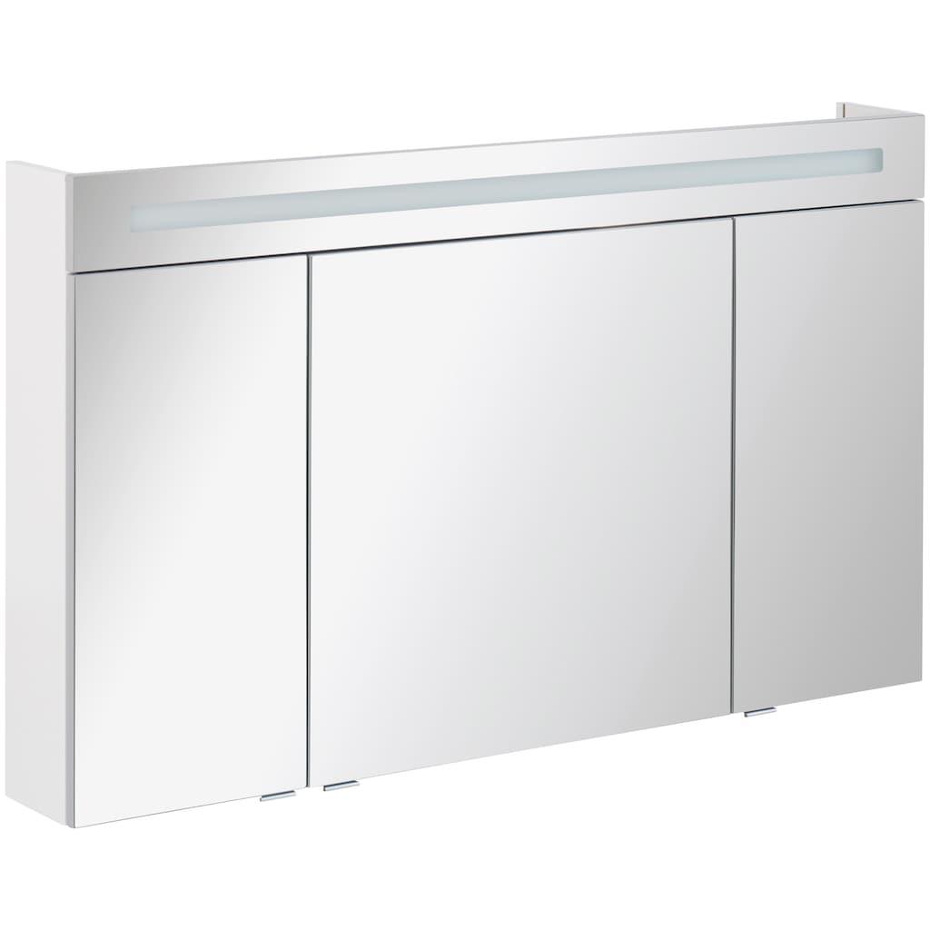 FACKELMANN Spiegelschrank »CL 120 - weiß«, Breite 120 cm, 3 Türen, LED-Badspiegel, doppelseitig verspiegelt