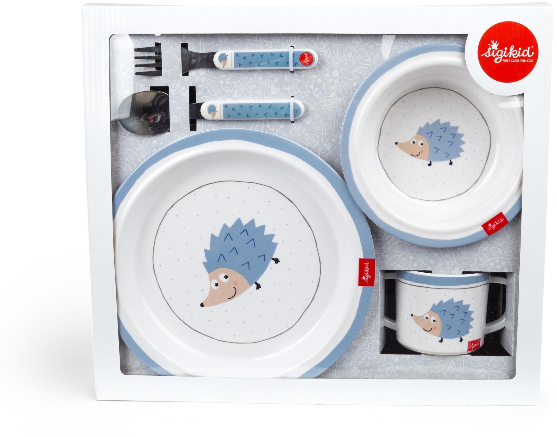 Sigikid Kindergeschirr-Set Igel blau Baby Kindergeschirr Geschirr, Porzellan Tischaccessoires Haushaltswaren