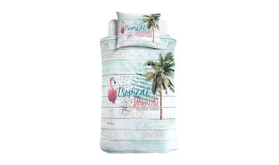 TRAUMSCHLAF Bettwäsche »Tropical Paradise«, Flamingo und Palmenmuster kaufen